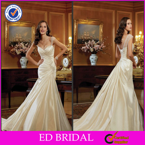 Charming Ivory A-Line Beaded Ruffle Sleeve Spaghetti Strap Long Satin Wedding Gown