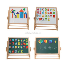 2 sides wood toy beech wood board whiteboard and blackboard kids magnetic wooden erasable drawing toy
