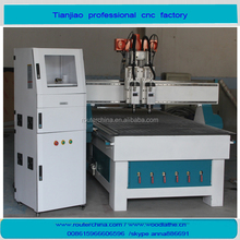 TJ1224 Cylinder two heads spindle vacuum absorption cnc wood machine for cutting &engraving