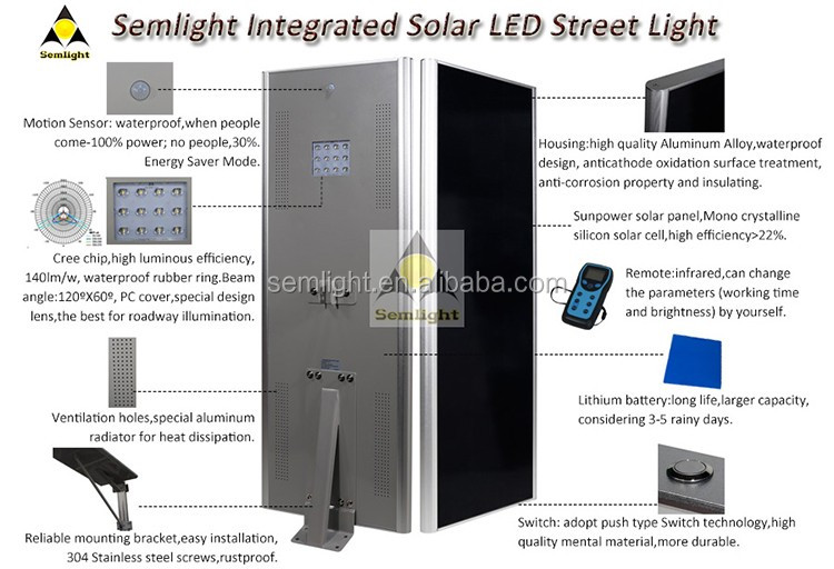 more efficiency integrated all in one solar led street lights 50W