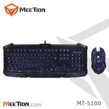 Hot Selling Rainbow Backlit Gaming Keyboard Mouse Combos Of Meetion