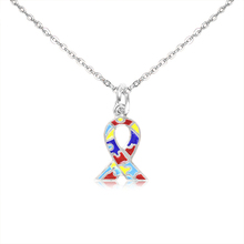 Enamel Rainbow Color Puzzle Piece Autism Ribbon Cancer Awareness Necklace