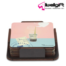 wholesale creative pink Square shaped MDF cork coaster