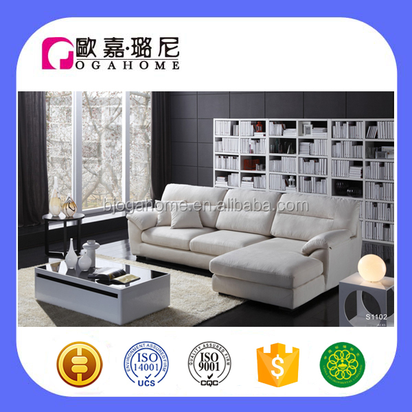S1102 OGAHOME Living Room arc arms L-Shaped all foam Sofa