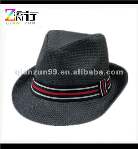 black straw woven mens black fedora hats