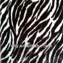 100% polyester zebra printed PV plush fabric