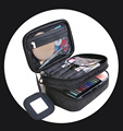 Wholesale Waffle Weave Portable Toiletry Cosmetic Bag, Multifuntional Black Travel Make Up Case Zipper Brush Bags