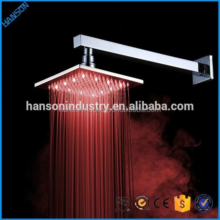 Temperature Detectable RGB fancy rain led shower head overhead type