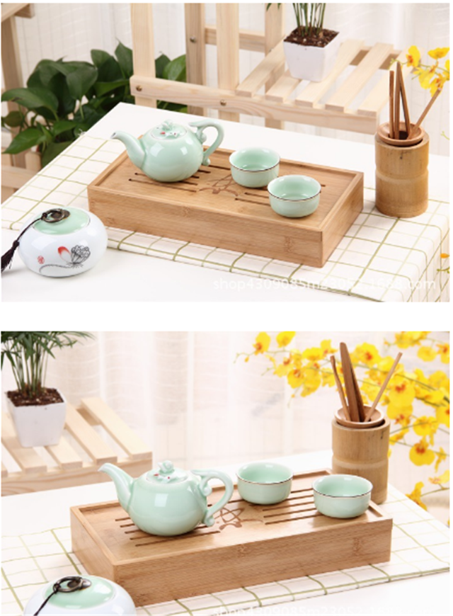 Chinese small bamboo wooden gongfu tea serving tray wholesale