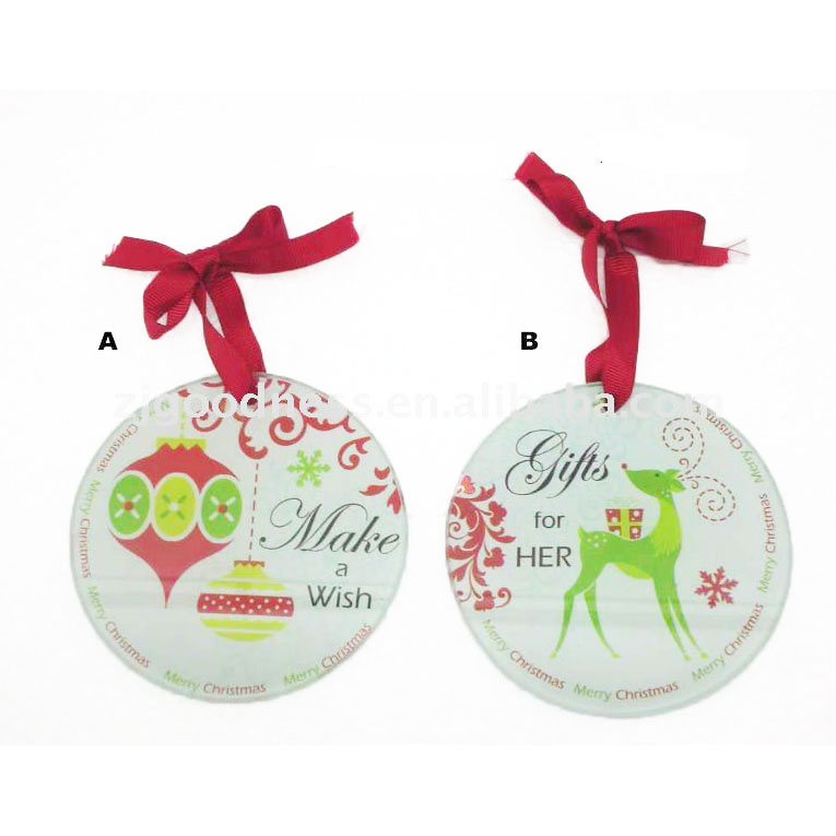 Deer christmas printed with wish saying two styles glass ornaments