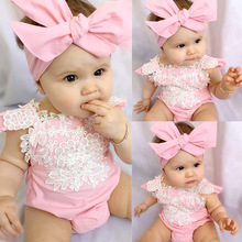 XA1717 2017 Hot fashion baby cotton white lace pink Romper new born clothing sets