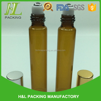 Best quality 10ml glass bottle with metal roller ball 10ml amber clear roll on bottle