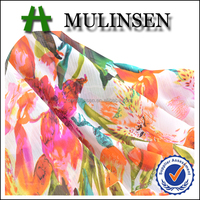 Mulinsen Textile Woven Polyester Printed Pure Crinkle Chiffon Fabric for Summer Dress