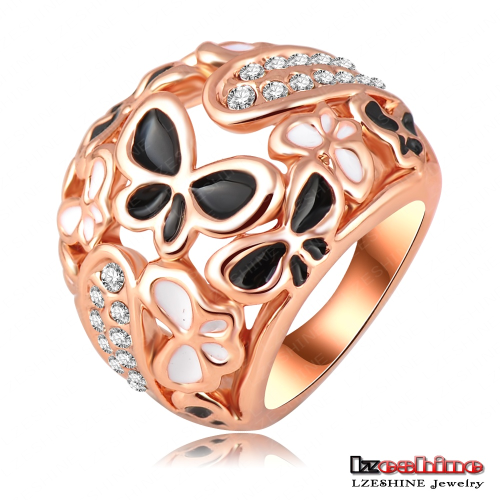 LZESHINE Hot Sale New Design Women Fashion Austrian Crystal Bijouterie 18K Rose Gold Plated Wedding Ring Jewelry Ri-HQ0210