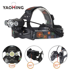 Yaoming Most Powerful LED Headlamp 3 XML-T6 Helmet Light Zoom Rechargeable Lithium Headlight