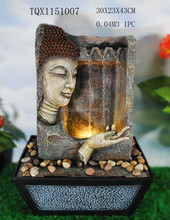 Indoor tabletop decoration resin buddha water fountain