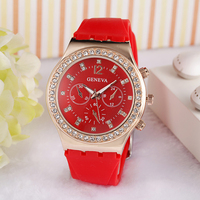 2016 top selling geneva diamond ladies wrist watch with nice design