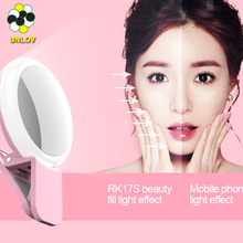 2017 rechargeable selfie ring light new selfie led light with makeup mirror for mobile phone