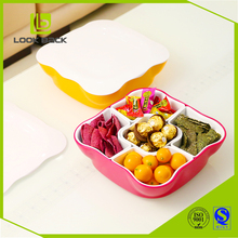Plastic Fruit Candy Tray Plate Sealed Box Nuts Snack Dish with Lid