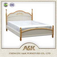 Latest wooden double bed design, solid rubber wooden children bed ,pre-environmental and healthy lacquering