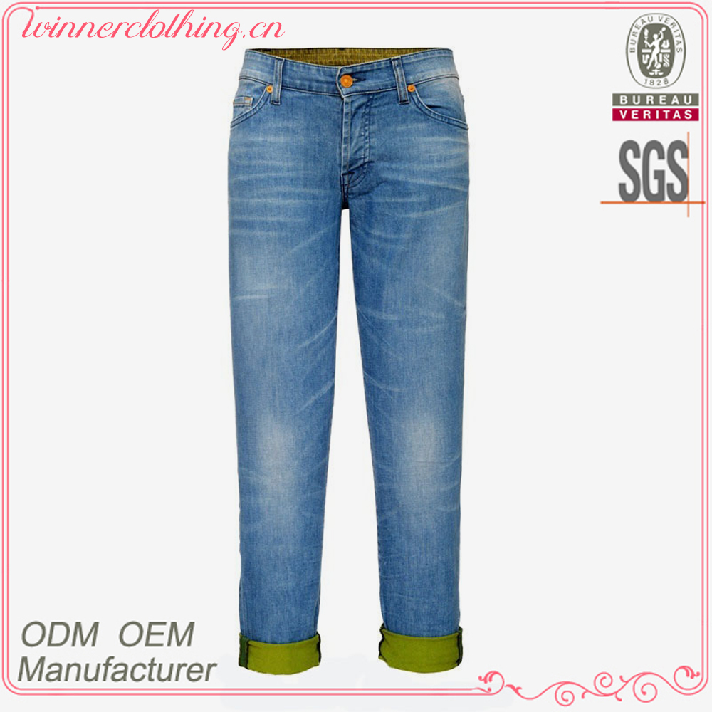 New arrival capris blue jeans foldable hem 100% cotton hard wear jeans women