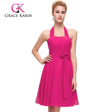 Girls Sexy Fashion Halter Knee Length Chiffon Bridesmaid Dress CL2290-4