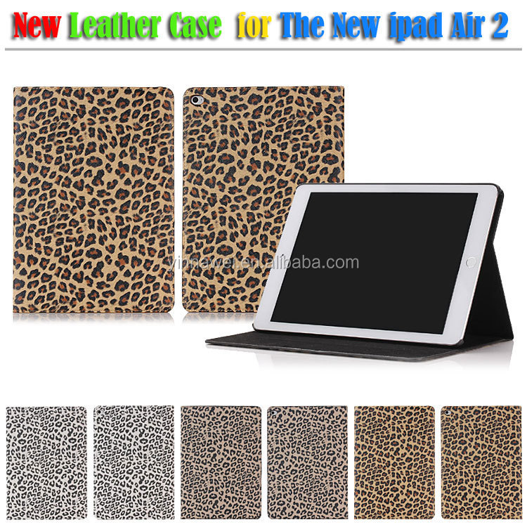 For Ipad 6 Ipad Air 2 Leopard Printing PU Leather Smart Tablet Case Cover With Stand