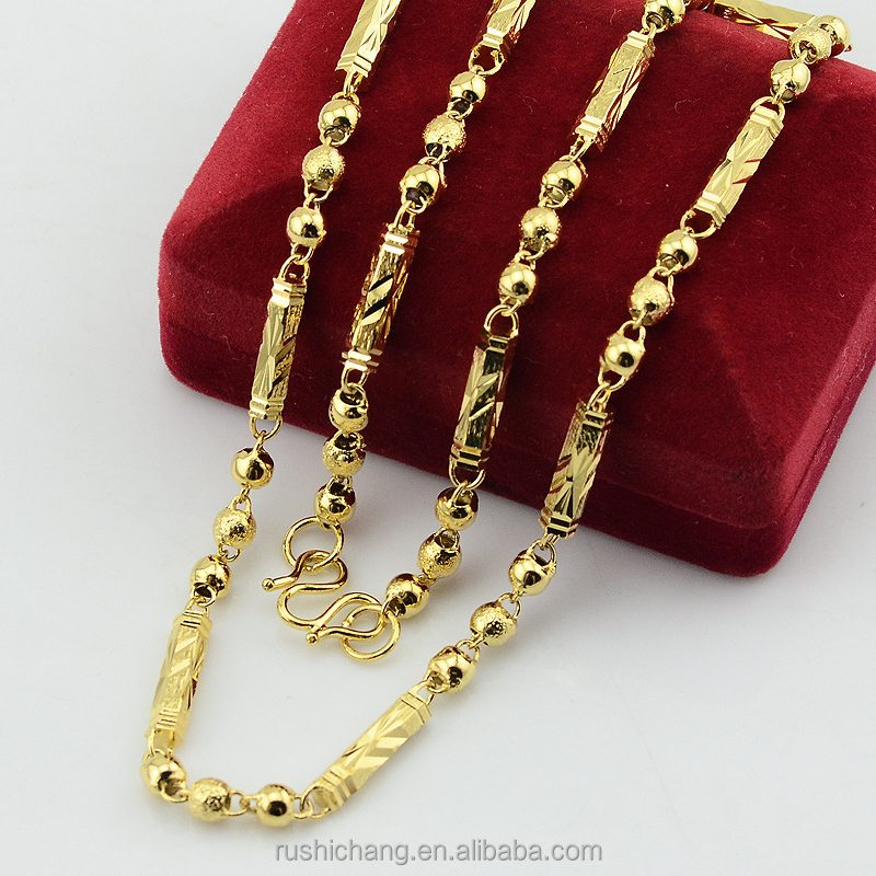 Royal Wedding Jewelry Dubai 20inch 22inch Necklace 4MM Width Beads Stick Necklace For Men Women Gold Plated Filled Chains
