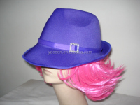 blue fedora hat with pink hair