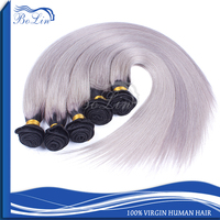 2015 Most Fashion Style High Feedback Virgin Brazilian Hair Weaving Gray Remy Hair Extensions