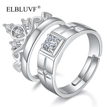 ELBLUVF Lovers Copper Alloy Jewelry White Cubic Zircon Brass 925 Silver Plated Crown Couple Engagement Wedding Couple <strong>Ring</strong>
