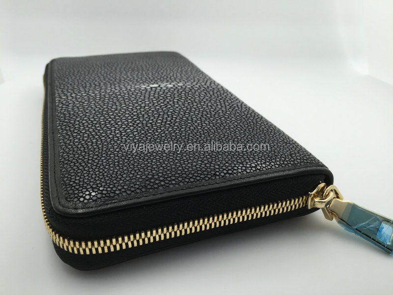 Viya Jewelry Wallet Genuine Stingray Skin Men's Wallet All Black