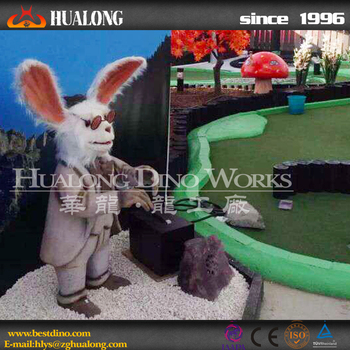 Outdoor Playground Real Life-Size Animated Rabbit Statue