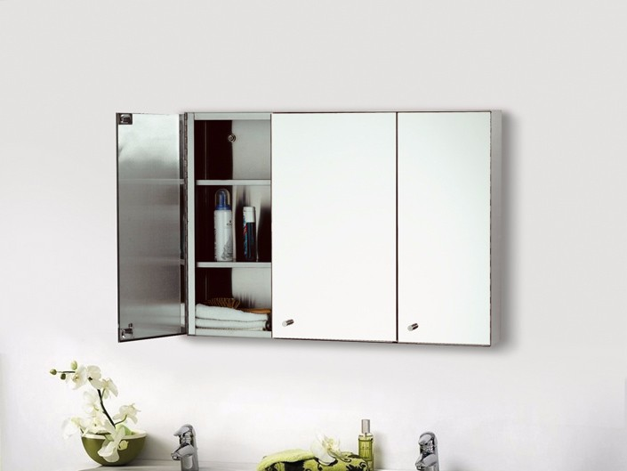 China Wholesale Triple door wall mounted stainless cabinet with mirror stainless steel bathroom cabinet