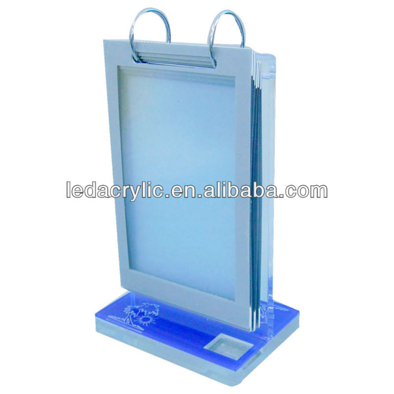 Acrylic T Shape Menu Holder Connect with Metal Ring