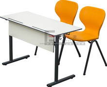 University School Double Desk and Chair Plastic Chair and Wood Table