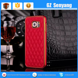 Diamond Check Genuine Leather Cover for Samsung S6 Metal Bumper Case