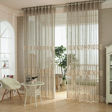 Custom factory direct sales readymade drapes curtain lace with embroidery
