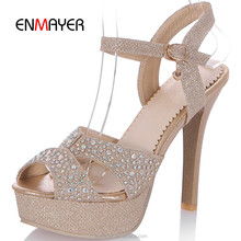 New design ladies summer high heel sandals sexy fish mouth gold crystal platform ladies thin heel sandals ladies sandals 2016