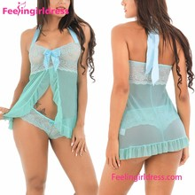 Custom Two Piece Green Lace Satin Halter Ruffle Sexy Women In Nighties Babydoll