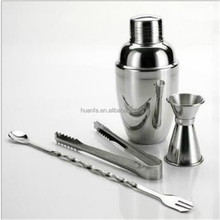 Stainless Steel Drinking Shaker with spoon , Measuring cup and Ice Tong for cocktail, Stainless Steel Cocktail Shaker Set.