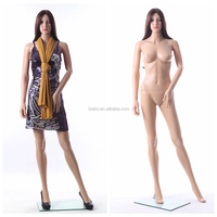 Standing skin color PP female cheap display plastic girl mannequin
