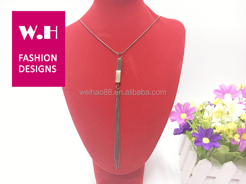 Gun color simple casual metal bar pendant necklace
