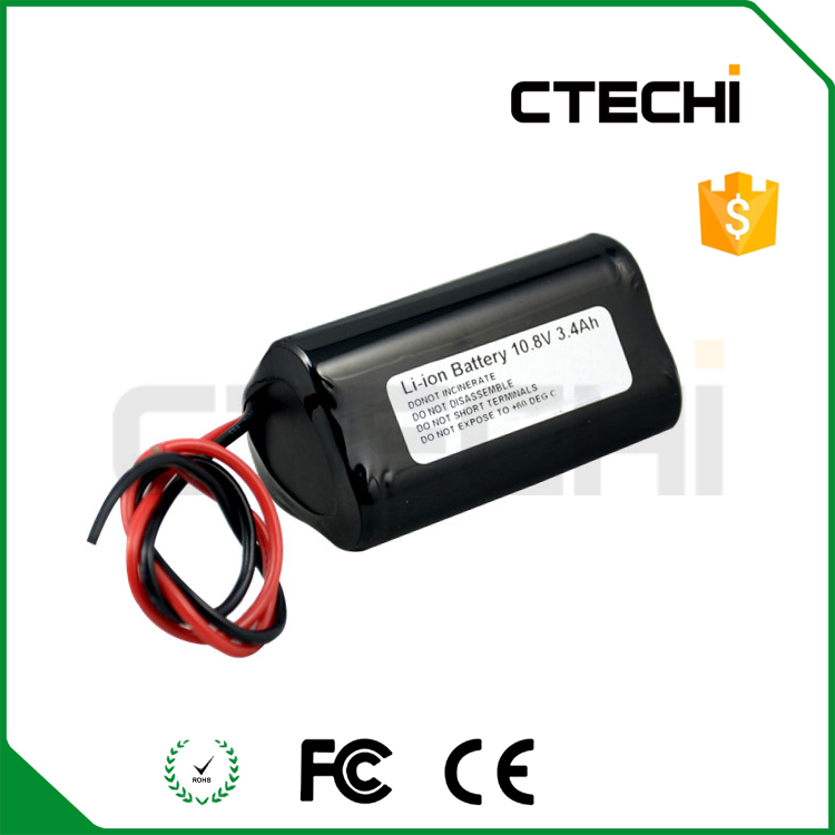 10.8V lithium ion battery pack 3400mAh 18650 rechargeable battery