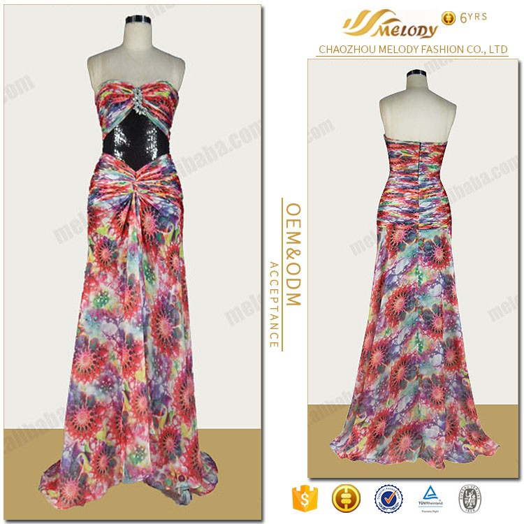Beadwork sun flowers printed chiffon india women clothing manufacturer