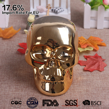 Halloween Ceramic Chrome Gold Skull Ornament