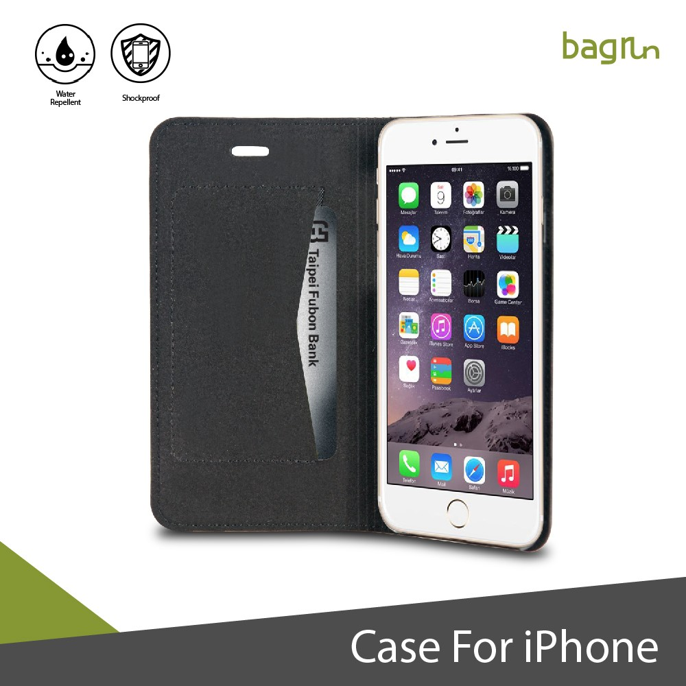 Black Luxury Genuine Leather Flip Case for iPhone