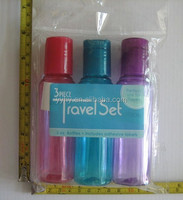 3pcs cosmetic packaging travel bottle kit, colorful disc top bottle