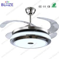 New Creative Europe Style Cube Led Light Contemporary ceiling fan with retractable blade
