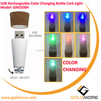 Goldmore1 Christmas Holiday Promotional Mini Size USB Rechargeable RGB LED Color Changing Cork Bottle Light